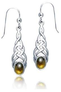 Celtic Bling Jewelry Knot Work Oval Synthetic Amber Sterling Silver Dangle Earrings.