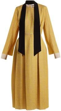 Fendi Abito Pop high-neck chevron silk-blend midi dress