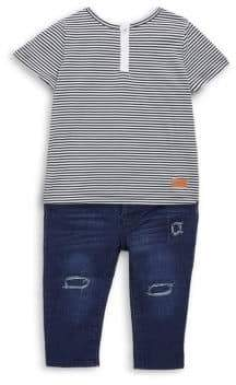 7 For All Mankind Baby's Striped Tee & Jeans Two-Piece Set