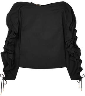 Antonio Berardi Ruffled Lace-up Cotton-blend Poplin Blouse - Black