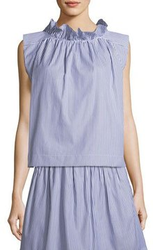 Atlantique Ascoli Mardi Sleeveless Striped Cotton Poplin Blouse w/ Ruffled Trim