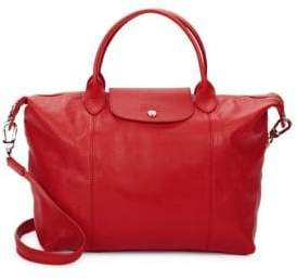 Longchamp Le Pliage Leather Medium Top Handle Bag - RED - STYLE