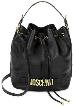 Moschino Women's Drawstring Leather Bucket Bag