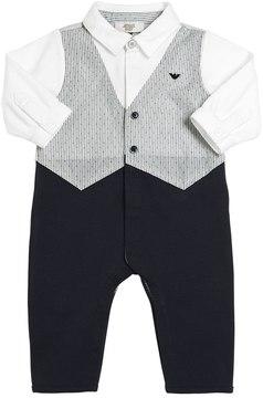 Armani Junior Cotton Interlock & Poplin Romper