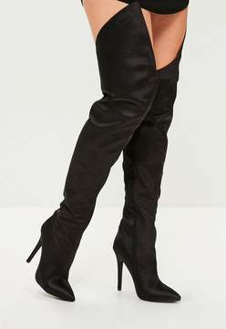 Missguided Black Satin Over The Knee Boots