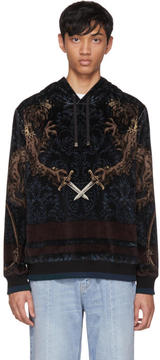 Dolce & Gabbana Green and Black Velvet Royal Lion Hoodie