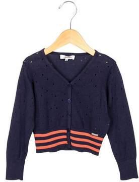 Junior Gaultier Girls' Open Knit Striped Cardigan w/ Tags