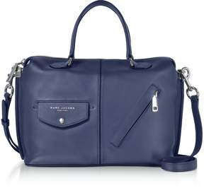 Marc Jacobs Midnight Blue Leather The Edge Satchel Bag - BLUE - STYLE