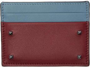 Valentino Red and Blue Garavani Small Rockstud Card Holder
