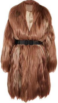 Bottega Veneta Oversized Belted Goat Hair Coat - Brown