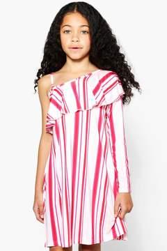 boohoo Girls One Shoulder Ruffle Swing Dress