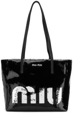 Miu Miu logo sequin tote bag