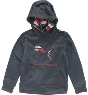 Puma Boy's Camp Printed Colorblock Coal Pullover Hoodie Sweatshirt