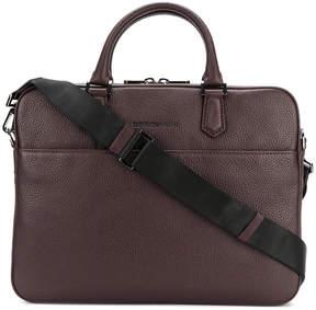 Emporio Armani embossed logo laptop bag
