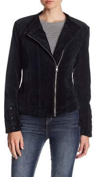 Blanc Noir Asymmetrical Velvet Jacket