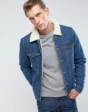 ONLY & SONS Denim Jacket With Fleece Collar