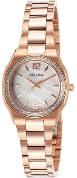 Bulova Watches Womens Diamond Gallery Mother of Pear Stainless Steel Watch