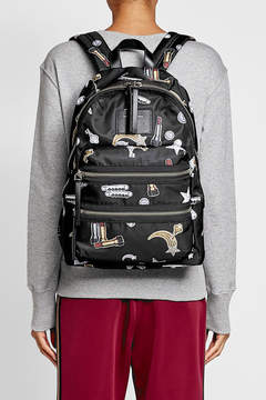 Marc Jacobs Tossed Charms Printed Backpack - BLACK - STYLE