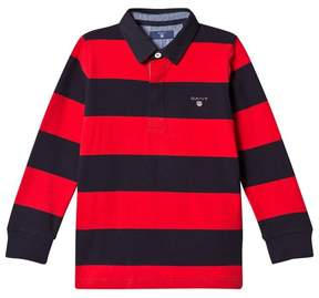 Gant Red and Navy Bar Stripe Rugby