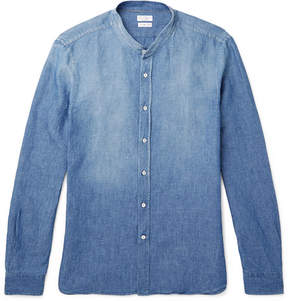 Brunello Cucinelli Grandad-Collar Slub Cotton And Linen-Blend Chambray Shirt