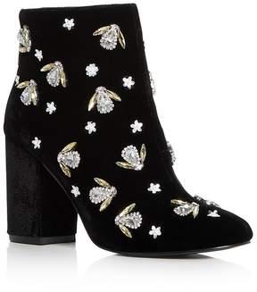 Kenneth Cole Women's Caylee Velvet Embellished Block Heel Booties