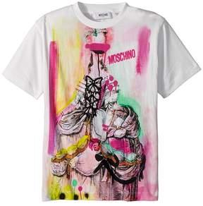 Moschino Kids Short Sleeve Victorian Graffiti Graphic T-Shirt Girl's T Shirt