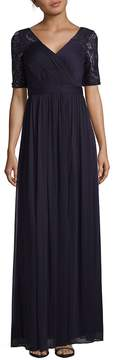 Adrianna Papell Women's Sequins and Lace Sleeve Floor-Length Gown