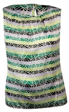 Nine West Women's Printed Stripped Keyhole Blouse (XL, Honeydew/Jungle Multi)