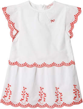 Lili Gaufrette White and Coral Embroidered Scallop Detail Dress