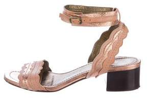 Lanvin Metallic Scalloped Leather Sandals