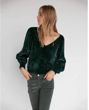 Express plush chenille v-neck sweater