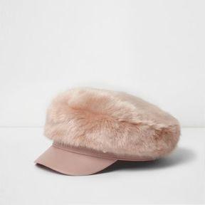 River Island Womens Light pink faux fur baker boy hat