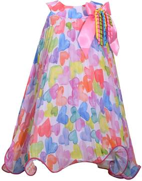 Bonnie Jean Girls 4-6x Watercolor Heart Chiffon Dress