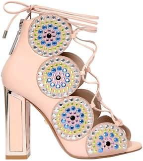 Kat Maconie 100mm Patent Leather Lace Up Sandals
