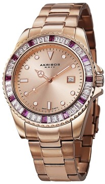 Akribos XXIV Rose Dial Rose Gold-tone Stainless Steel Unisex Watch