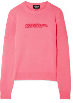 Calvin Klein Printed Cashmere Sweater - Pink
