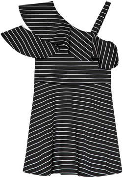 Bardot Junior Black and White Striped Senna Ruffle Dress