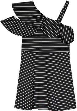Bardot Junior Black and White Striped Senna Ruffle Dress