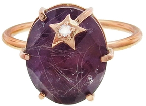 Andrea Fohrman Amethyst and Rutilated Quartz Mini Star Ring