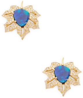 Artisan Women's Maple Leaf Opal & Diamond Stud Earrings