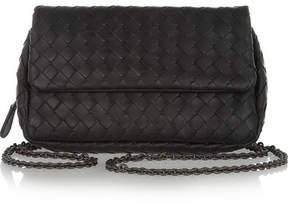 Bottega Veneta Messenger Mini Intrecciato Leather Shoulder Bag - Black