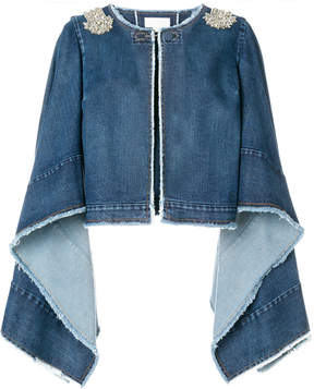 Antonio Berardi crystal-embellished denim cape