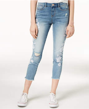 American Rag Juniors' Embroidered Ripped Cropped Skinny Jeans, Created for Macy's