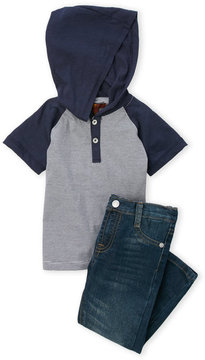 7 For All Mankind Toddler Boys) Two-Piece Stripe Hooded Tee & Jeans Set