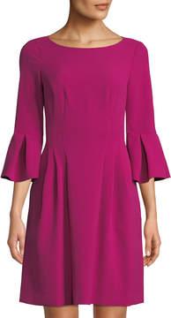 Eliza J Pleated Crepe Fit & Flare Dress