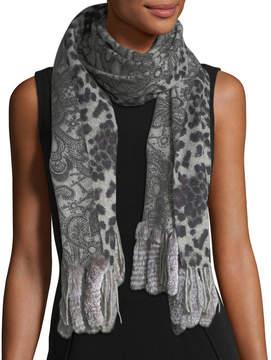 La Fiorentina Reversible Lace-Print Animal Print Wrap w/ Fur Trim