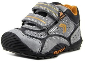 Geox J Savage Abx Toddler Round Toe Patent Leather Gray Sneakers.