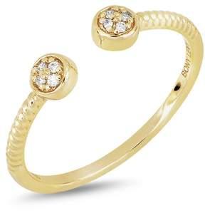 Bony Levy 18K Yellow Gold Diamond Detail Disc Cuff Ring - 0.03 ctw