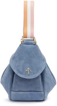Atelier MANU 'Fernweh' stripe shoulder strap micro suede handbag