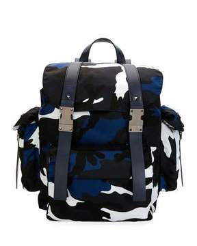 Valentino Camo-Print Nylon Backpack, Marine Blue
